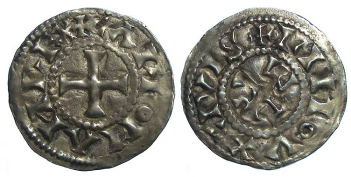 Ancient Coins - Carolingian, Carloman, AD 879 to 884. King of the West Franks.