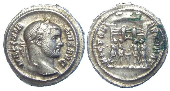 Ancient Coins - Maximianus, AD 286 to 305. Silver Argentius.