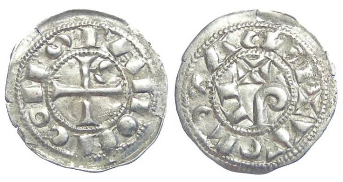 World Coins - France Feudal. Toulouse.  Raymond V to VII, 1148 to 1249. Silver obol.  EDGE FLAW WHICH MAY FLAKE OFF