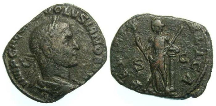 Ancient Coins - Volusian, AD 251-253. Bronze sestertius.