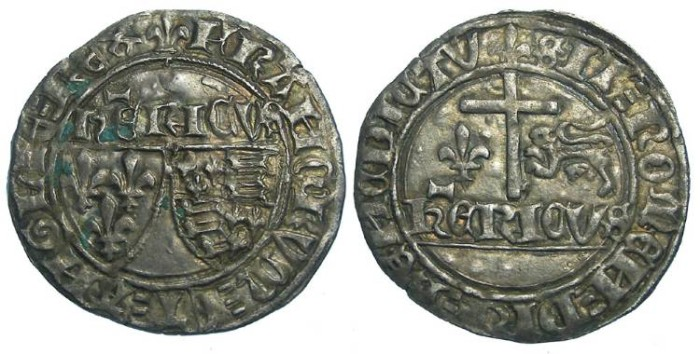 Ancient Coins - Anglo-Gallic. Henry VI, AD 1422 to 1453. Silver grand blanc aux ecus.