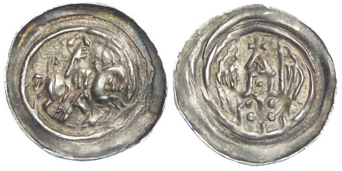 Ancient Coins - French Feudal, Hagenau.  Anonymous. ca. AD 1190 to 1200.  Silver pfennig.  Far nicer than usual strike