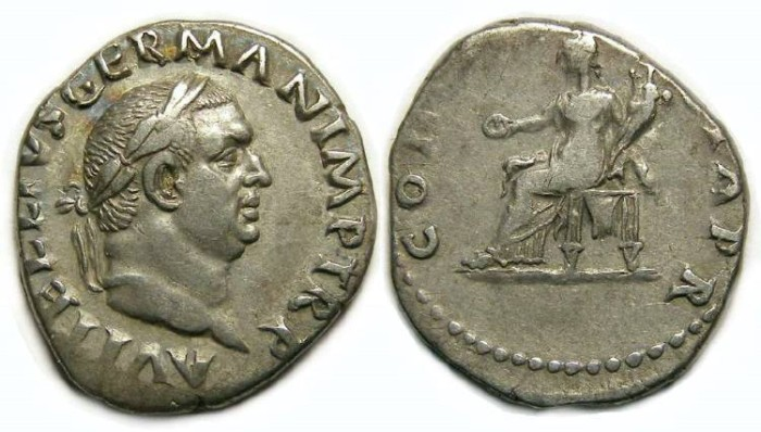 Ancient Coins - Vitellius, AD 69. Silver denarius