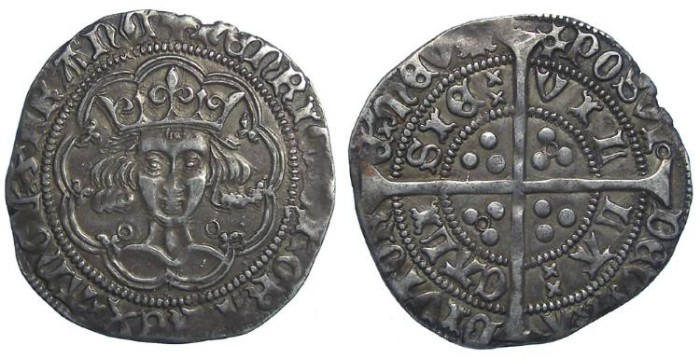 Ancient Coins - English, Henry VI, AD 1422 to 1461. Silver groat.