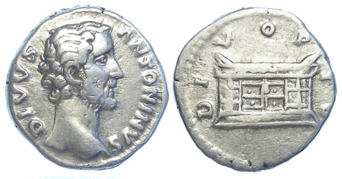 Ancient Coins - Divus Antoninus Pius, struck by Marcus Aurelius in AD 162.  Silver denarius.