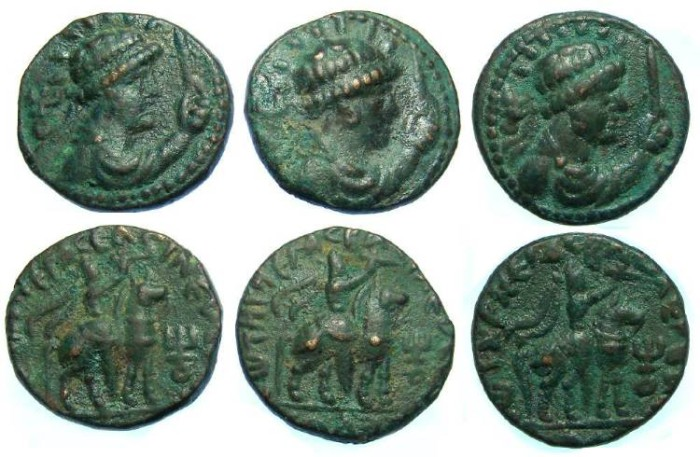 Ancient Coins - India, Kushan, Soter Megas, AD 55 to 105, AE tetradrachm. DEALER LOT OF 3 COINS.