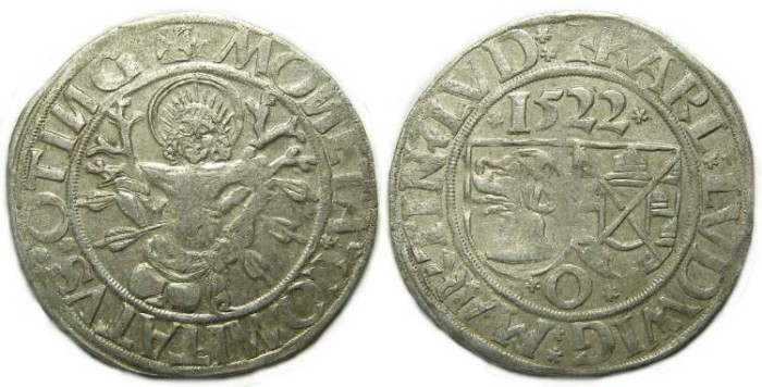 Ancient Coins - Germany, Ottingen Princes. AD 1522. Silver Batzen.