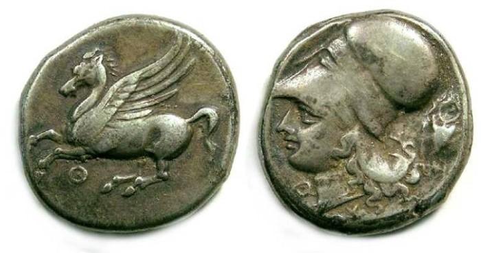 Ancient Coins - Akarnania, Thyrrheion. ca. 350 to 300 BC. Silver stater.