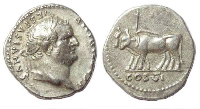 Ancient Coins - Titus as Caesar, AD 69-79. Silver denarius.