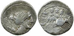 Ancient Coins - Roman Republic. A. Postumius S.P. Albinus. ca. 96 BC. Silver denarius