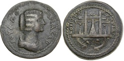 Ancient Coins - Julia Domna, AD 193 to 217. AE 33 from Paphos (Koinon of Cyprus).