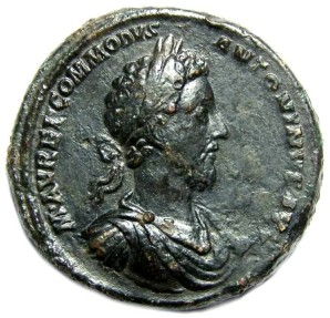 Ancient Coins - Commodus. BRONZE MEDALLION of AD 183.  Probably for military events in England.