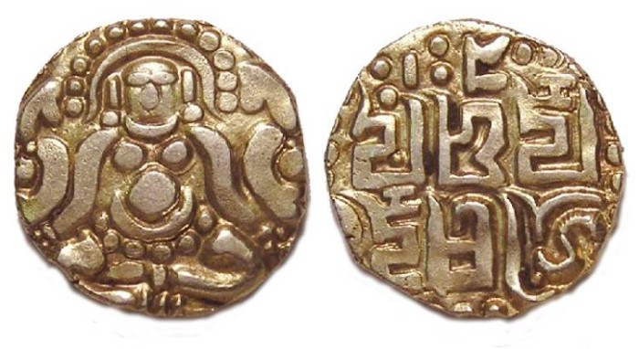Ancient Coins - India, Kalachuris or Tripuri. Gold stater.