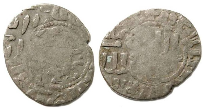 Ancient Coins - Burji Mamluk. Al Nasir. AD 1299 to 1341.  Silver Dirhem  over struck on an Armenian takvorin