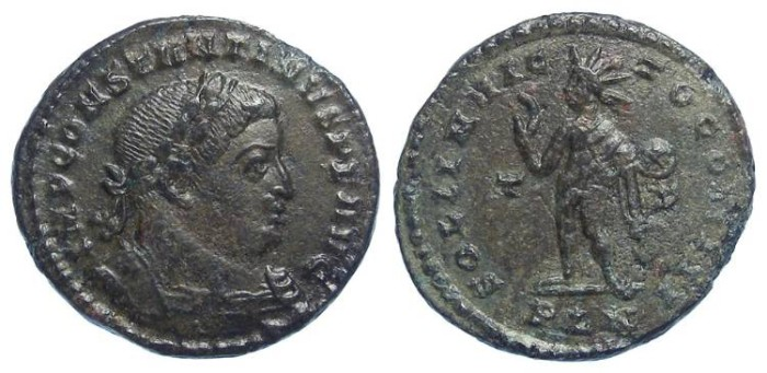 Ancient Coins - Constantine the Great, AD 307 to 337. AE reduced follis. LONDON MINT.