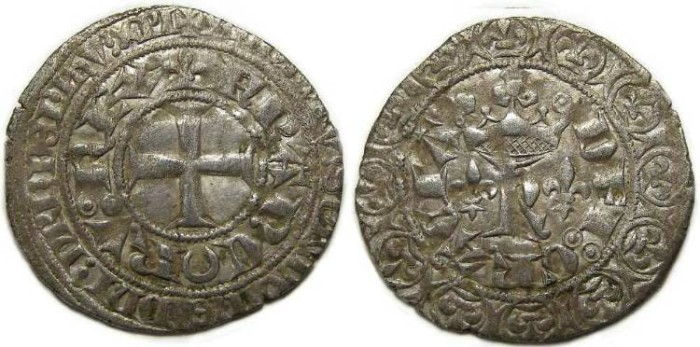 Ancient Coins - France Royal. Charles V, AD 1364 to 1380. Silver Blanc.