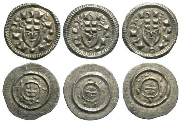 Ancient Coins - Hungary. Bela II, AD 1131 to 1141. Silver Denars.  DEALER LOT OF 3 COINS.
