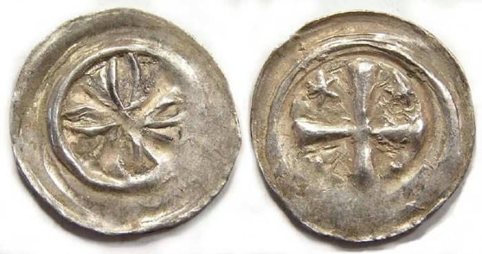 Ancient Coins - Swiss, City of Basel. Bishop Heinrich I, AD 1180 to 1191. Silver Runt Pfennig.