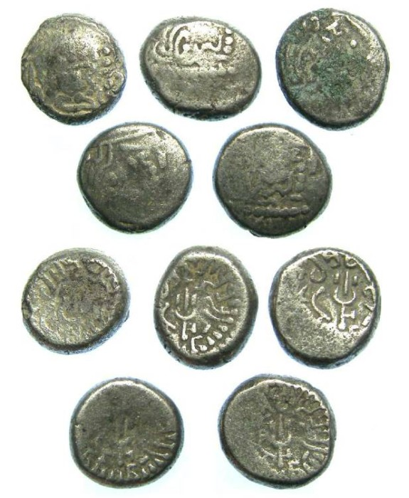 Ancient Coins - India, Kingdom of Maitrakas of Valabhi. Billon Drachm. ca. AD 470 to 800.  Dealer lot of 5 coins.