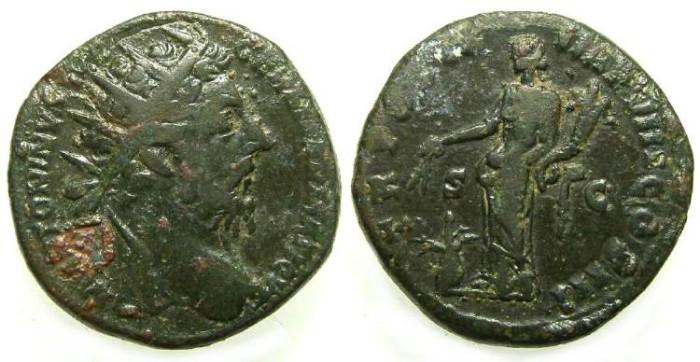 Ancient Coins - Marcus Aurelius, AD 161 to 180, Bronze dupondius.