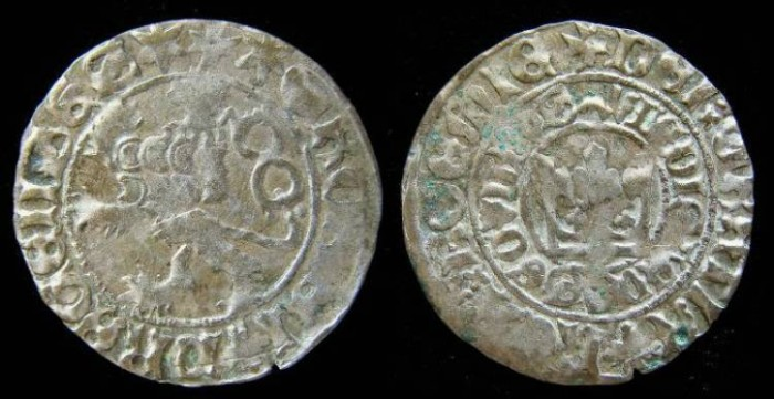 Ancient Coins - Bohemia. Wladislaus II, AD 1471 to 1516. Silver prager groschen.