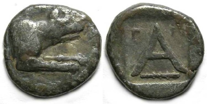 Ancient Coins - Argos in Argolis. Silver Triobol. ca. 330-270 BC.