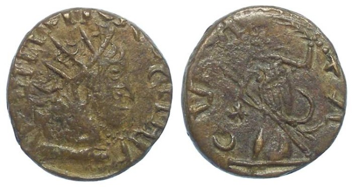 Ancient Coins - Barbarous imitative of a Tetricus I, AD 271 to 274. Bronze Antoninianus