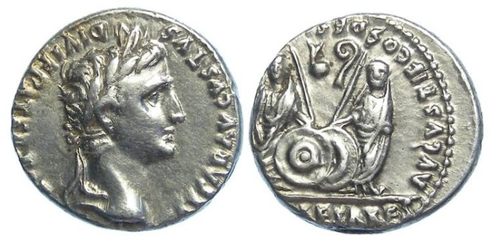 Ancient Coins - Augustus, 27 BC - 14 AD. Silver denarius