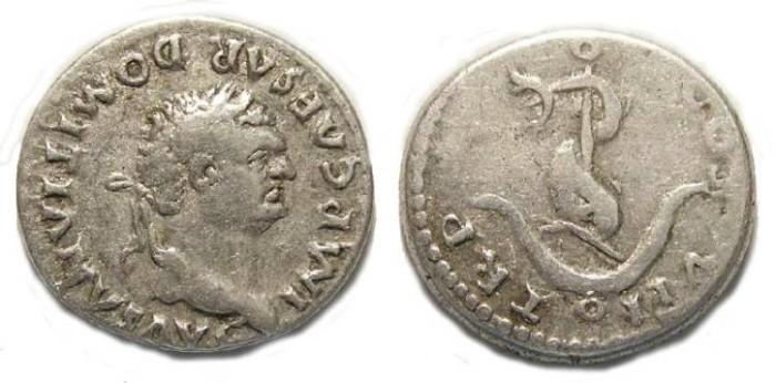 Ancient Coins - Domitian, as Augustus.  AD 81 to 96.  Silver denarius.