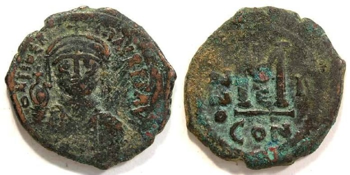 Ancient Coins - Byzantine. Maurice Tiberius.  AD 582 - 602. Bronze follis.