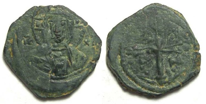 Ancient Coins - Crusaders at Antioch. Tancred, AD 1101-1112.  AE follis.  High grade specimen.