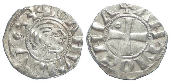 Ancient Coins - Crusaders at Antioch. Bohemund III, minority of AD 1149 to 1163. Silver Denier.