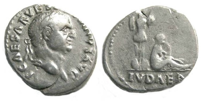 Ancient Coins - Vespasian, AD 69-79. Silver denarius.  Judaea Capta Series.