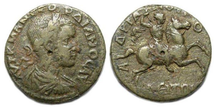 Ancient Coins - Gordian III, AD 238 to 244.  AE 25 from Hadrianopolis in Thrace.