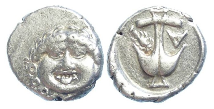 Ancient Coins - Thrace, Apollonia Pontica. ca 450 to 400 BC. Silver drachm