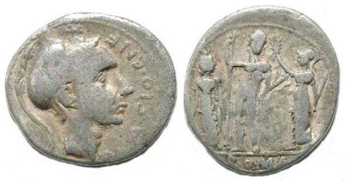 Ancient Coins - Roman Republic. Cn. Blasio Cn f.. ca. 112/111 BC. Silver denarius