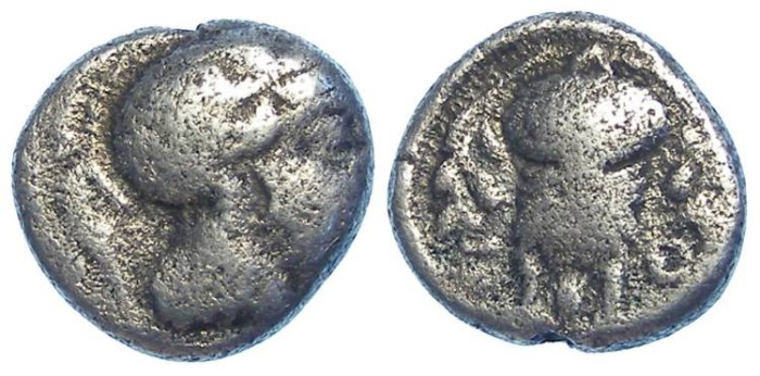 Ancient Coins - Athens, ca. 449-413 BC. Silver hemidrachm.