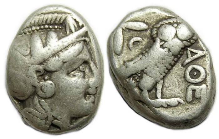 Ancient Coins - Athens. ca. 300 to 262 BC. Silver Tetradrachm.