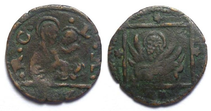 Ancient Coins - Italy, Venice. Anonymous coinage. early 16th century.  AE Bagattino.