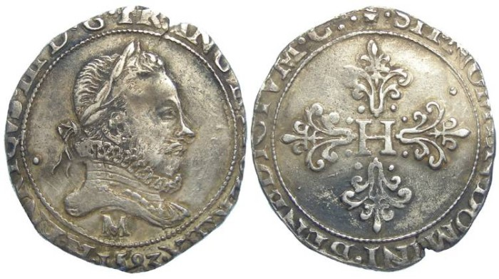 Ancient Coins - France. Royal. Henry III.  Franc d'argent. AD 1583 M.