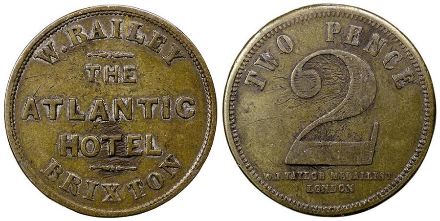 World Coins - England, Brixton in London.  Atlantic Hotel. ca. 1870's. 2 pence.