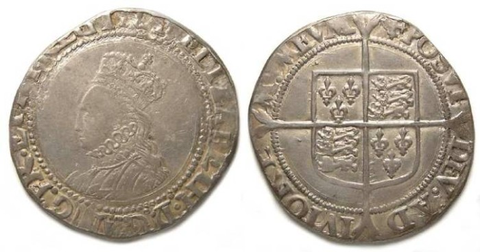 Ancient Coins - English, Elizabeth I, Silver shilling.  Undated (ca. 1560-61).