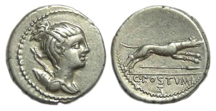 Ancient Coins - Roman Republic. C. Postumius. ca. 74 BC. Silver denarius.