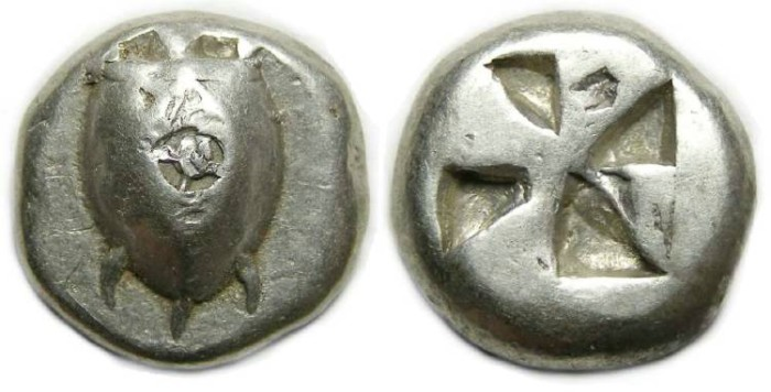 Ancient Coins - Aegina. Silver stater. ca. 510 to 490 BC.