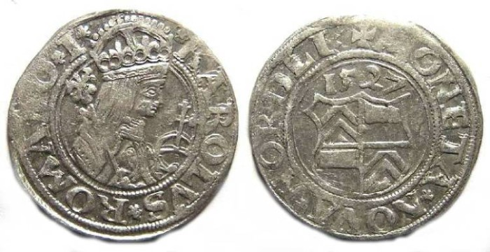Ancient Coins - Germany, Nordlingen. Stuck by Eberhard IV, 1506 to 1535, but naming  Carl V. AD 1527.  1/2 Batzen.
