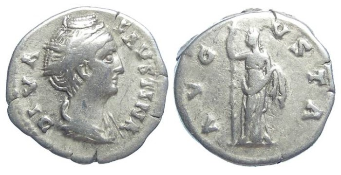 Ancient Coins - Diva Faustina Senior. After AD 141. Silver denarius.