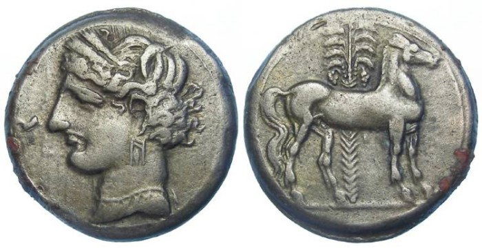 Ancient Coins - Zeugitana, Carthage. Siculo-punic. Billon tridrachm.  ca. 230 to 220 BC. Time of the second Punic War.