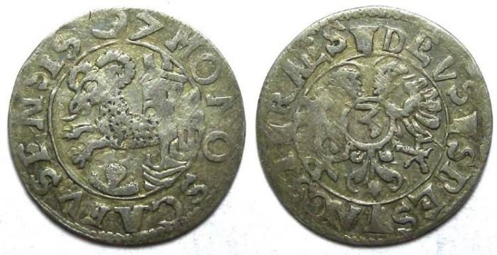 Ancient Coins - Swiss. City of Schaffhausen. Silver 3 Kreuzer.  AD 1597.