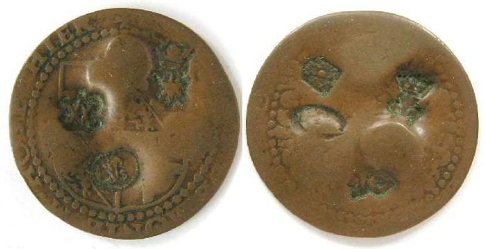 Ancient Coins - Malta, countermarked bronze 4 Tari.