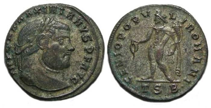 Ancient Coins - Maximianus, AD 286 to 310.  AE follis